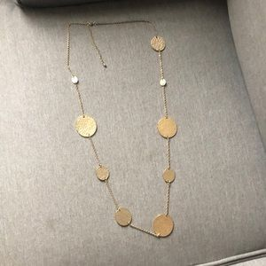 Gold plated circle design long necklace
